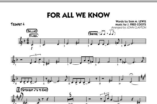 For All We Know - Trumpet 4 Sheet Music