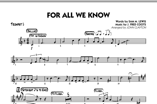 For All We Know - Trumpet 5 Sheet Music
