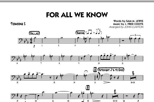 For All We Know - Trombone 2 Sheet Music