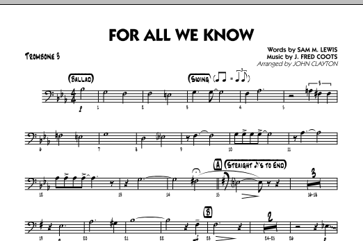For All We Know - Trombone 3 Sheet Music