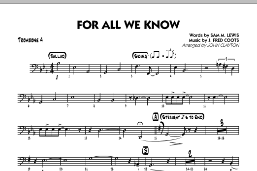 For All We Know - Trombone 4 Sheet Music