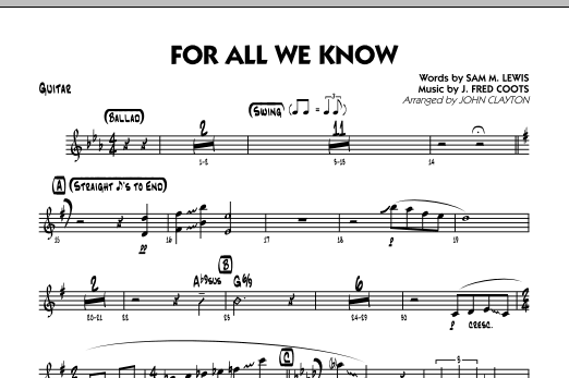 For All We Know - Guitar Sheet Music