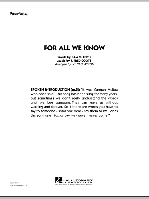 For All We Know - Piano/Vocal Solo Sheet Music