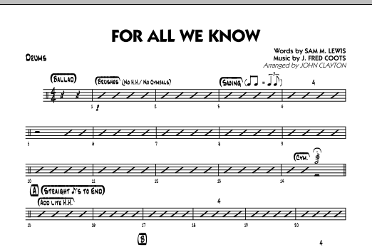 For All We Know - Drums Sheet Music