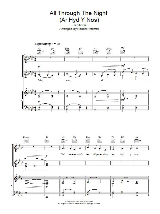 All Through The Night (Ar Hyd Y Nos) (Piano, Vocal & Guitar)