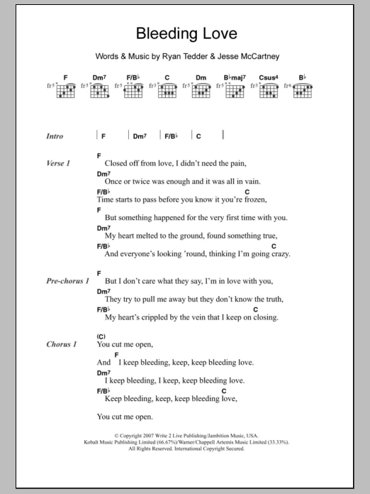 Bleeding Love By Leona Lewis Guitar Chordslyrics Guitar Instructor