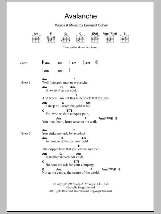 Avalanche by Leonard Cohen - Guitar Chords/Lyrics - Guitar Instructor