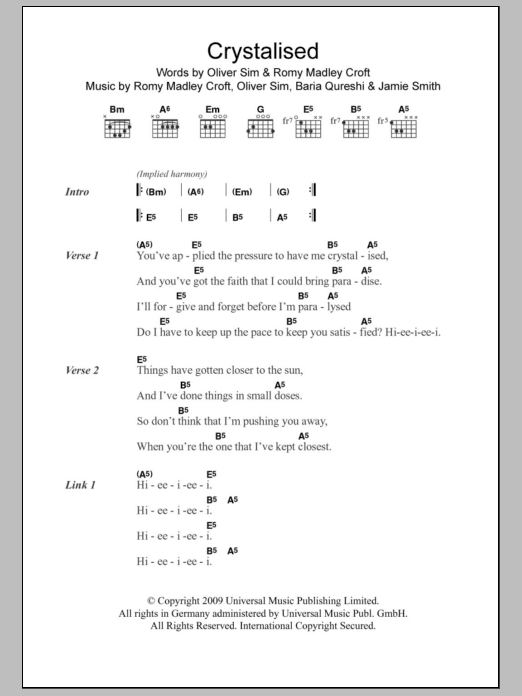 Crystalised by The XX - Guitar Chords/Lyrics - Guitar Instructor