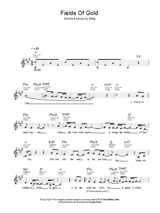 Fields Of Gold Sheet Music Eva Cassidy Melody Line Lyrics Chords