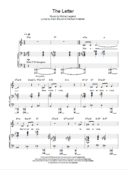 The Letter (from Marguerite) Sheet Music