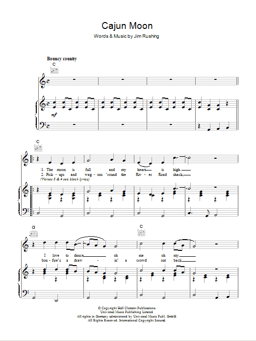 Cajun Moon Sheet Music