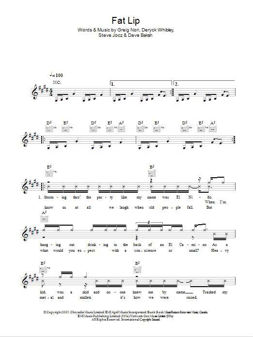 Fat Lip Sheet Music