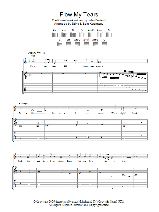 Flow My Tears (as performed by Sting and Edin Karamazov) Sheet Music