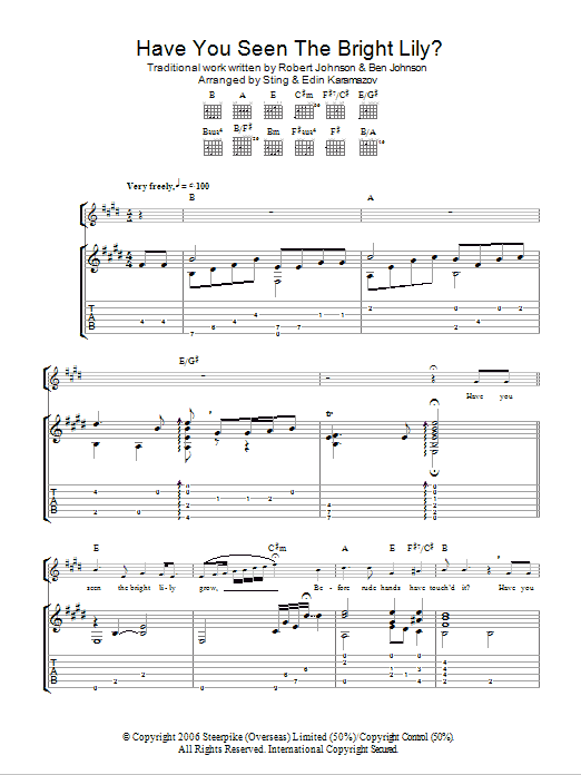 Have You Seen The Bright Lily? (as performed by Sting and Edin Karamazov) (Guitar Tab)