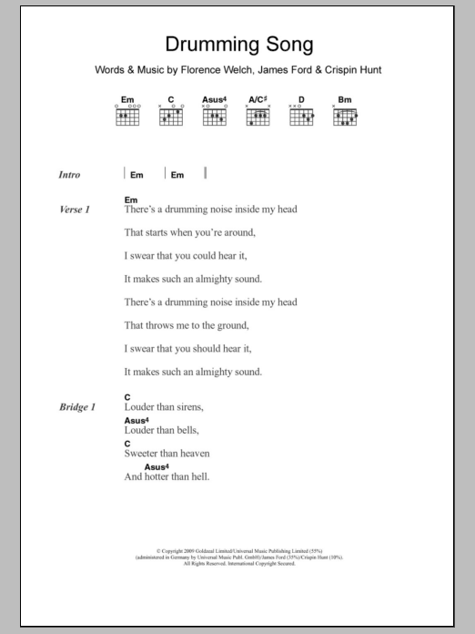 Drumming Song Sheet Music By Florence And The Machine Lyrics