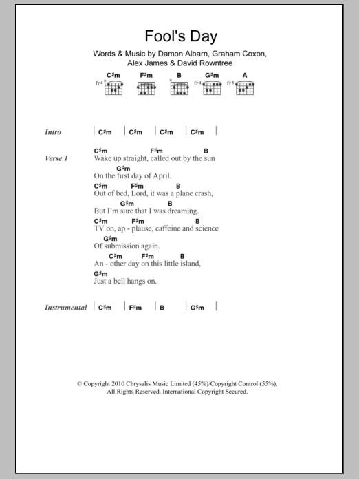 Fools Day By Blur Guitar Chordslyrics Guitar Instructor
