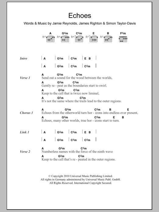Echoes by Klaxons Piano, Vocal & Guitar (Right-Hand Melody) Digital Sheet  Music