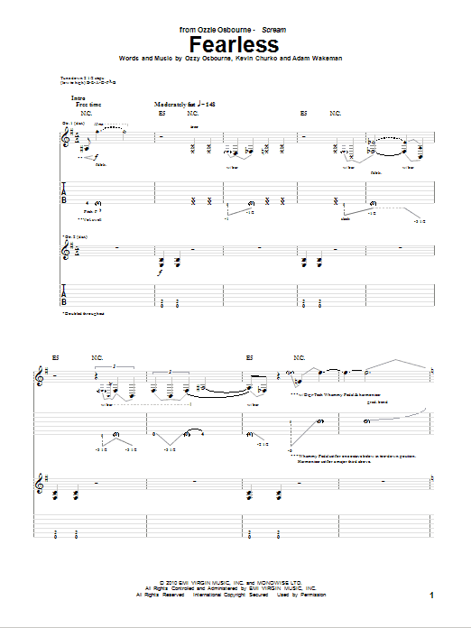 Tablature guitare Fearless de Ozzy Osbourne - Tablature Guitare