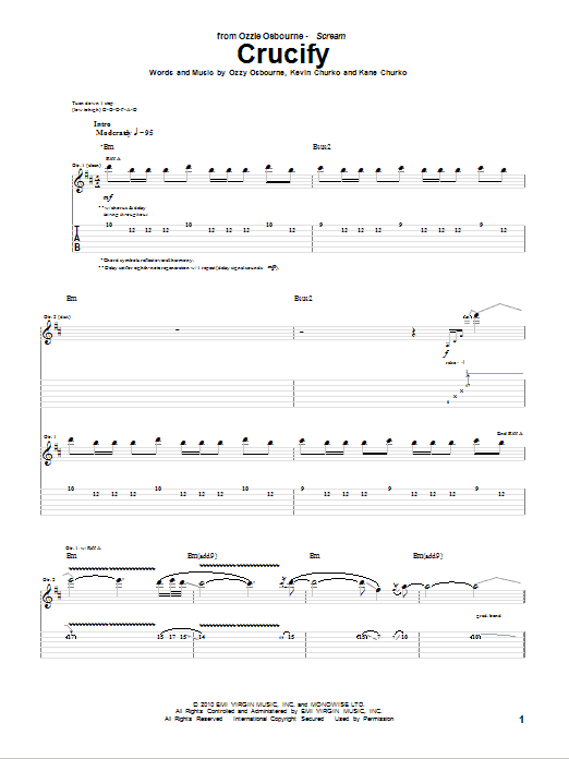 Tablature guitare Crucify de Ozzy Osbourne - Tablature Guitare