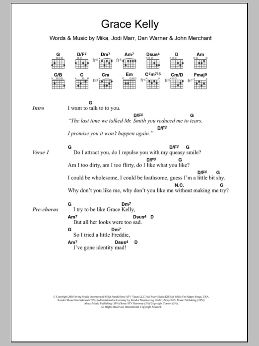 Grace Kelly Sheet Music Mika Lyrics Chords