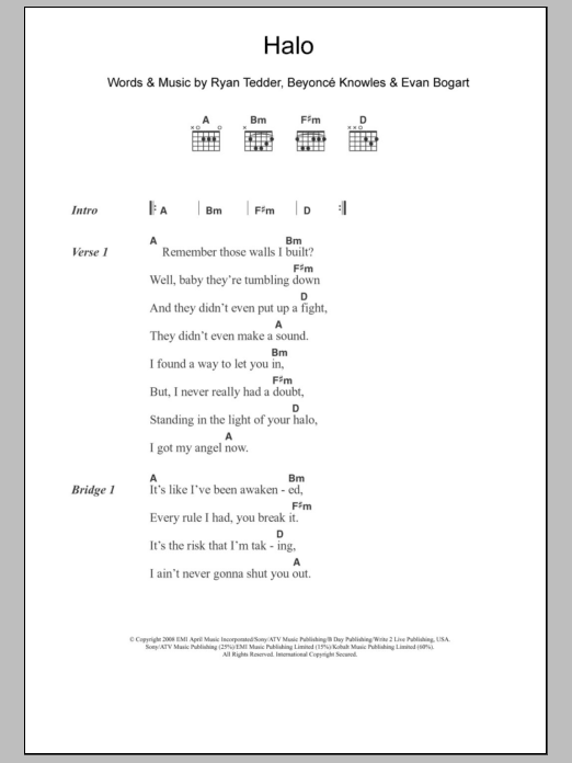 Halo By Beyonce Guitar Chordslyrics Guitar Instructor