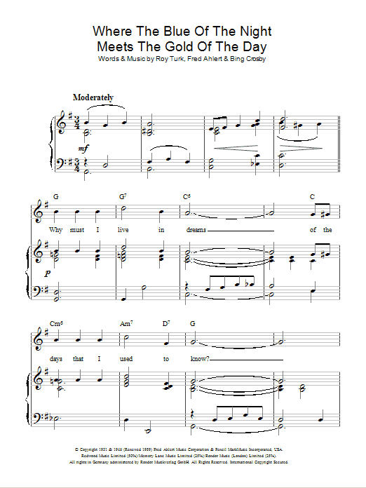 Where The Blue Of The Night Meets The Gold Of The Day Sheet Music
