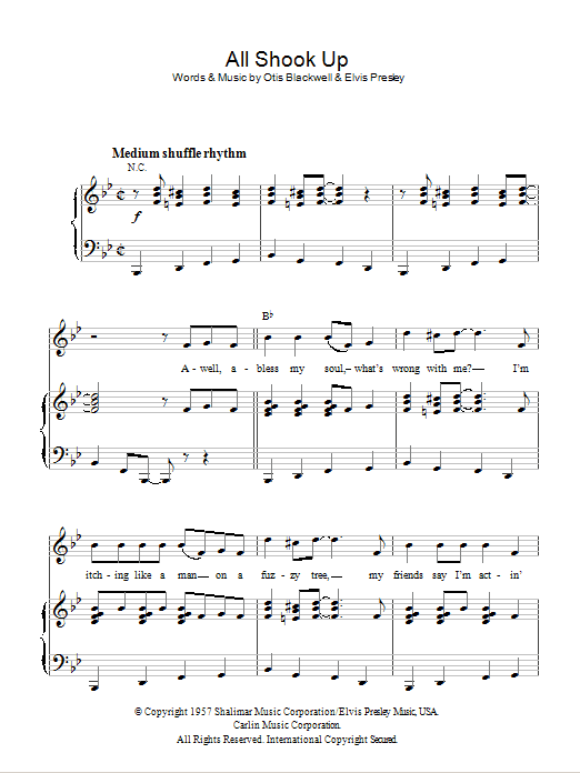 All Shook Up (Piano, Vocal & Guitar)