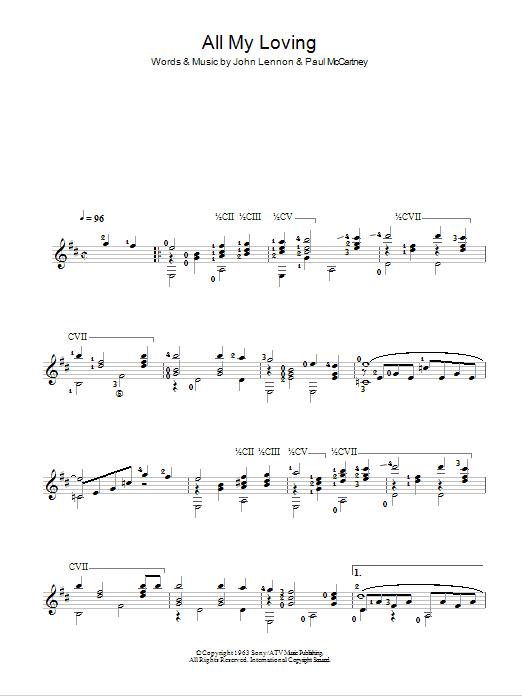 All My Loving (Easy Guitar)