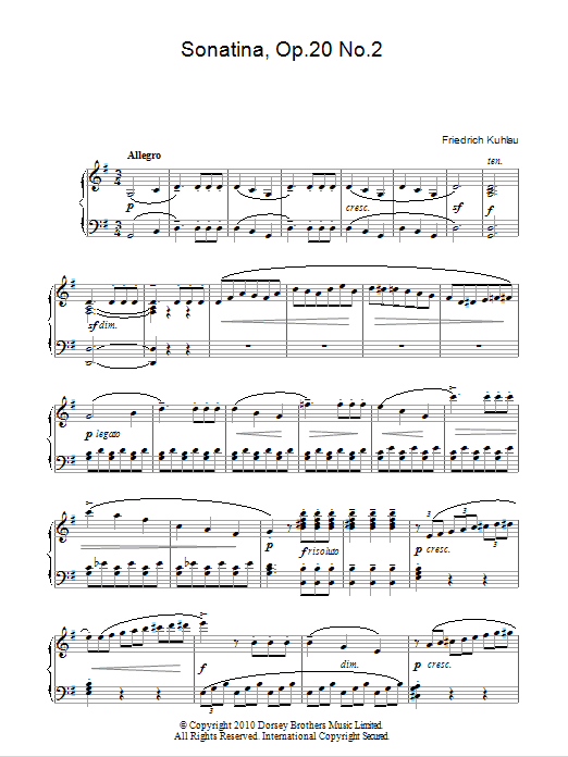 Sonatina, Op.20, No.2 Sheet Music