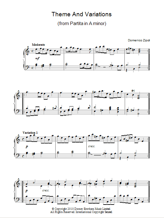 Theme And Variations From Partita In A Minor Sheet Music