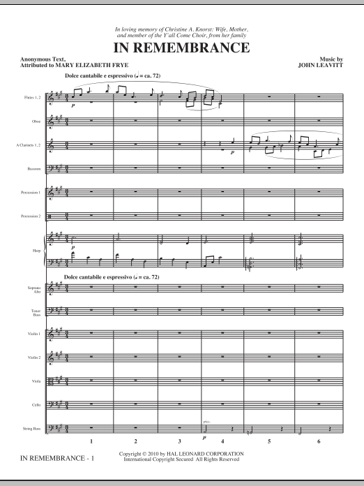 In Remembrance (complete set of parts) sheet music for orchestra/band (chamber ensemble) by John Leavitt. Score Image Preview.