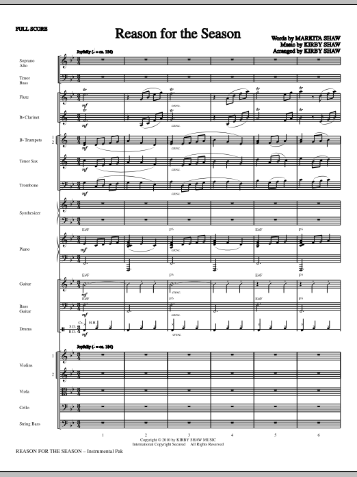 Reason For The Season (complete set of parts) sheet music for orchestra/band (Orchestra) by Kirby Shaw and Martika Shaw. Score Image Preview.
