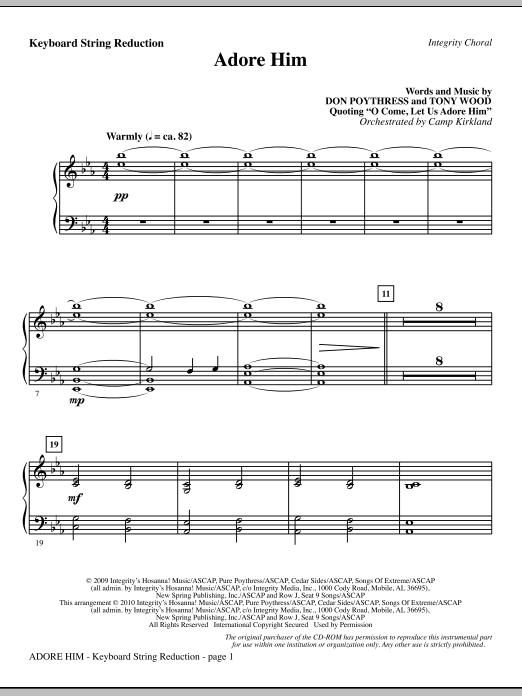 Adore Him - Keyboard String Reduction Sheet Music
