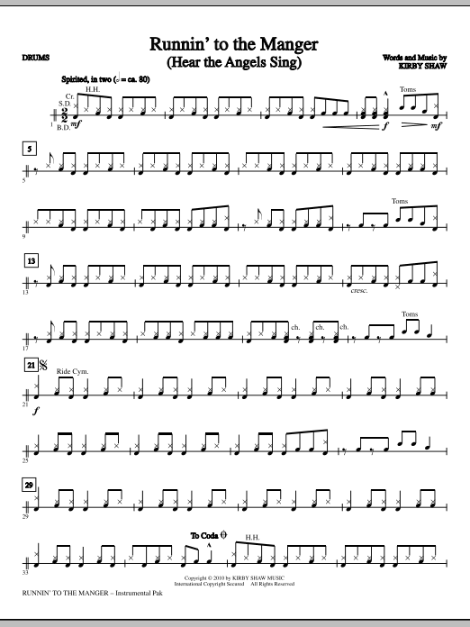 Runnin' To The Manger (Hear The Angels Sing) - Drums (Choir Instrumental Pak)