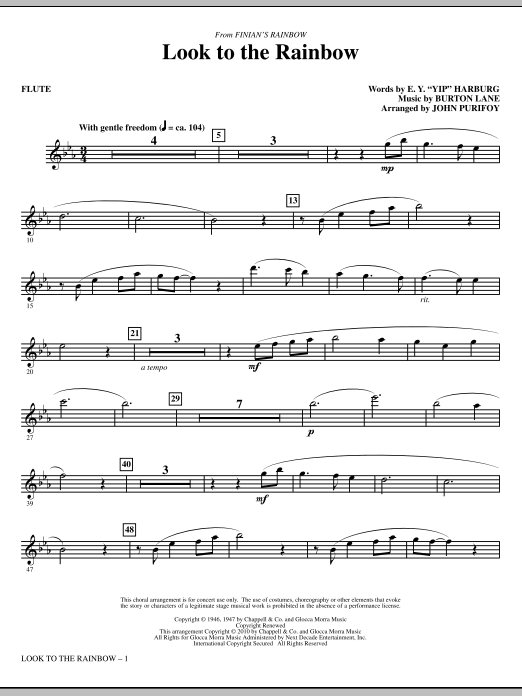 Look To The Rainbow (from Finian's Rainbow) - Flute Sheet Music