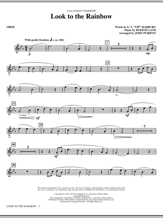 Look To The Rainbow (from Finian's Rainbow) - Oboe (Choir Instrumental Pak)