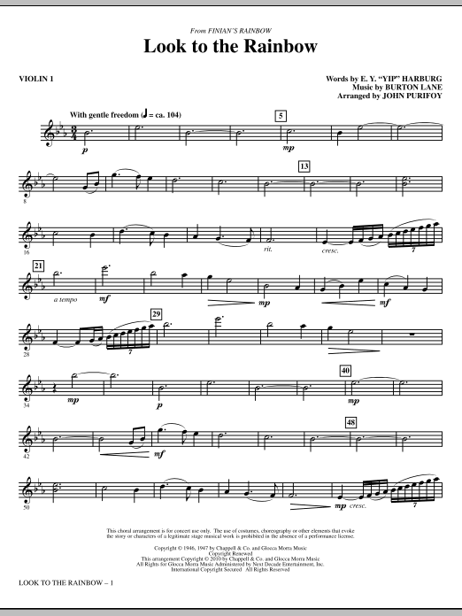 Look To The Rainbow (from Finian's Rainbow) - Violin 1 Sheet Music