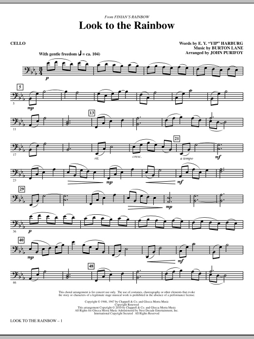 Look To The Rainbow (from Finian's Rainbow) - Cello Sheet Music