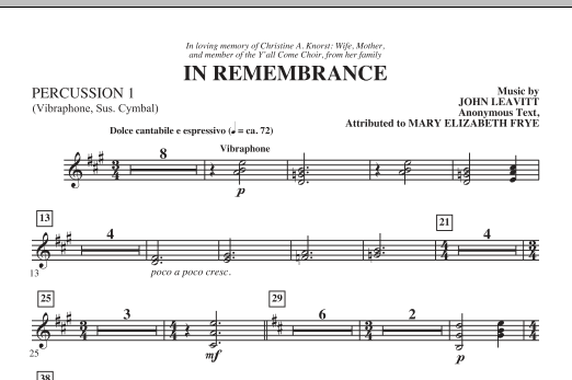 In Remembrance - Percussion 1 Sheet Music