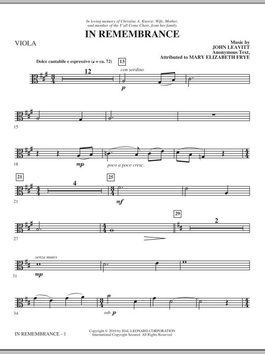 In Remembrance - Viola Sheet Music