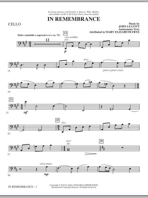 In Remembrance - Cello Sheet Music