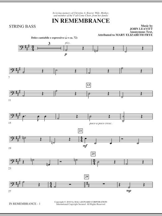 In Remembrance - String Bass Sheet Music
