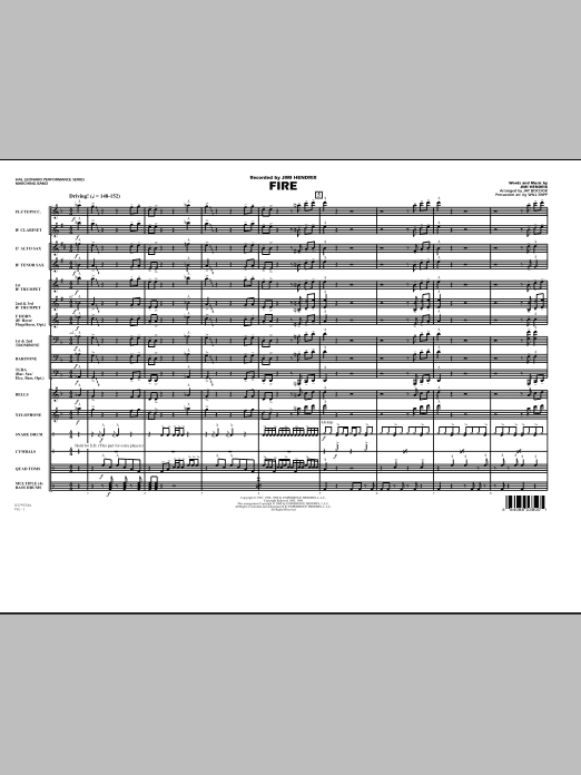 Fire (COMPLETE) sheet music for marching band by Jay Bocook, Jimi Hendrix and Will Rapp. Score Image Preview.