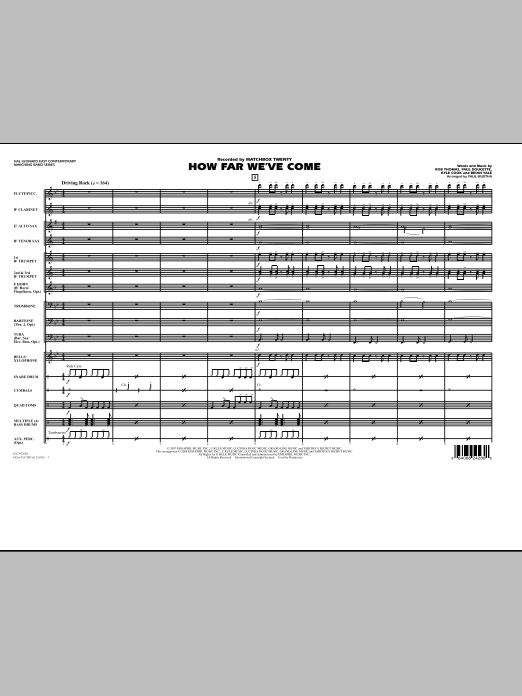 How Far We've Come (COMPLETE) sheet music for marching band by Rob Thomas, Matchbox Twenty and Paul Murtha. Score Image Preview.