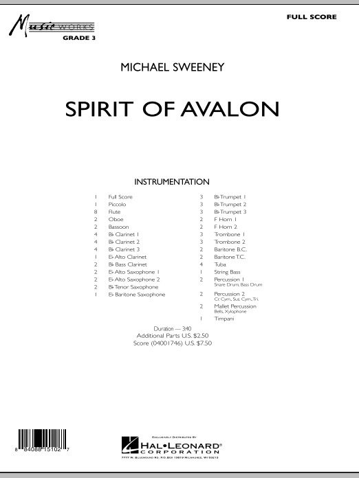 Spirit Of Avalon (COMPLETE) sheet music for concert band by Michael Sweeney. Score Image Preview.