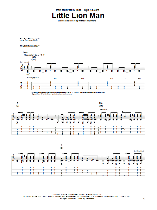 Ukulele ukulele tabs mumford and sons : Little Lion Man Guitar Tab by Mumford & Sons (Guitar Tab – 76536)
