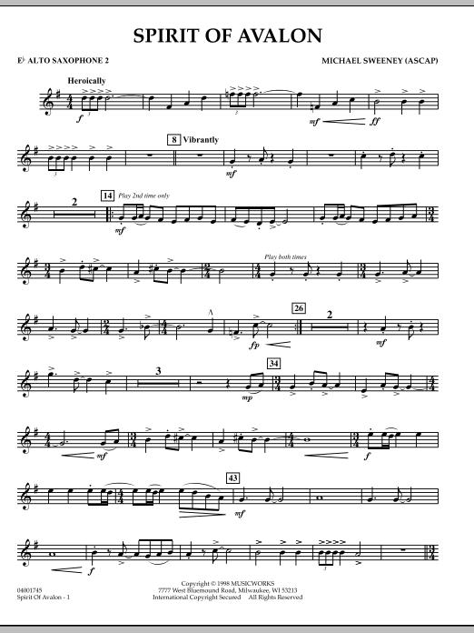 Spirit Of Avalon - Eb Alto Saxophone 2 (Concert Band)
