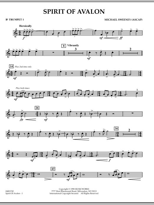 Spirit Of Avalon - Bb Trumpet 1 (Concert Band)