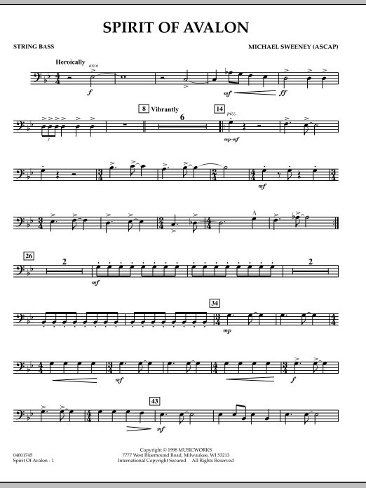 Spirit Of Avalon - String Bass (Concert Band)