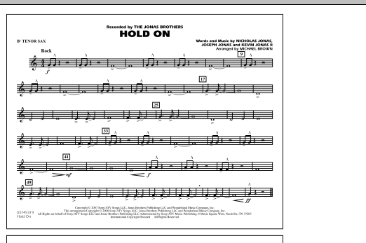 Hold On - Bb Tenor Sax (Marching Band)